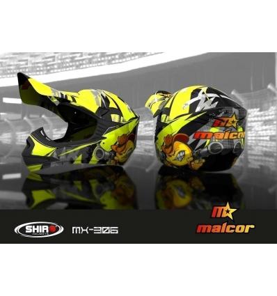 Casco shiro MALCOR MX-306 amarillo fluor